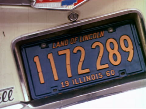 1965 close up illinois license plate on car / industrial - number plate stock videos & royalty-free footage