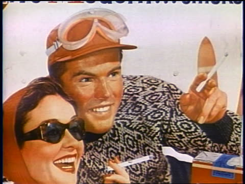 1958 close up illustration of couple smoking cigarettes in advertisement / newsreel - cigarette stock videos & royalty-free footage