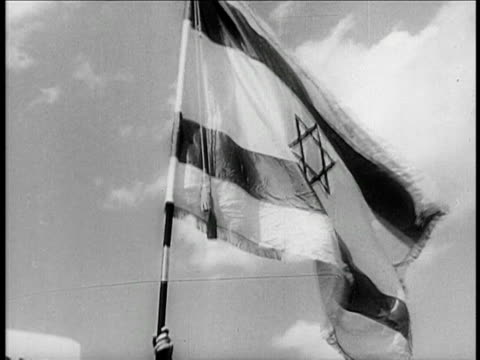 b/w 1948 close up israeli flag waving in wind / documentary - 1948 stock videos & royalty-free footage
