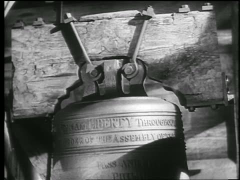 B/W 1945 close up large bell swings + rings / educational