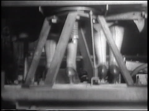 B/W 1933 close up legs of women in bouncing chair in vibration-tester experiment / Purdue U., Indiana