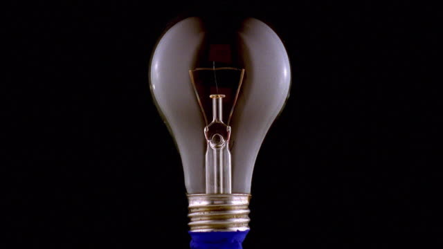 Close up light bulb turning on and off with black background