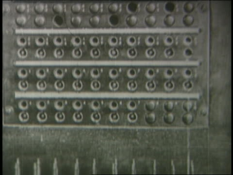 b/w 1924 close up lights on telephone switchboard / silent comedy - 電話交換機点の映像素材/bロール