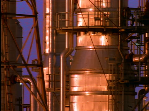 close up pan machinery + large metal containers in oil refinery / galveston, texas - 1996年点の映像素材/bロール