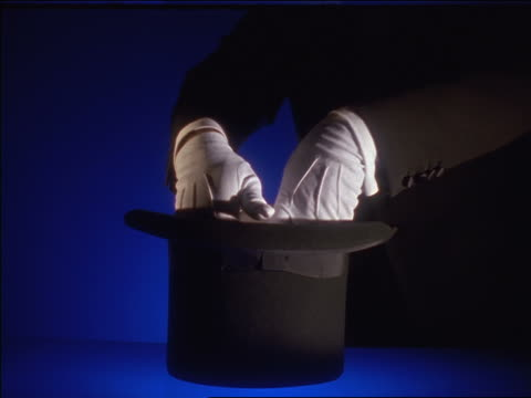 close up magician's hands pull white rabbit from top hat - cappello video stock e b–roll