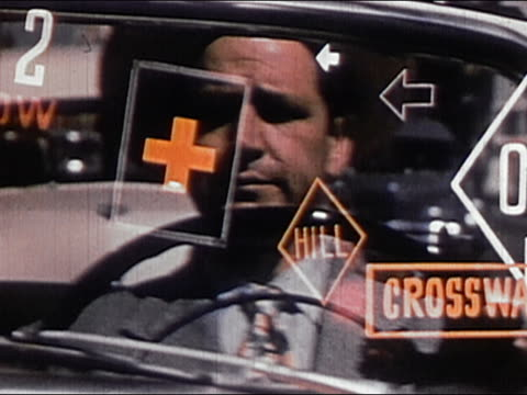 1952 close up male driver looking vexed / animated road signs appearing over man's face / AUDIO