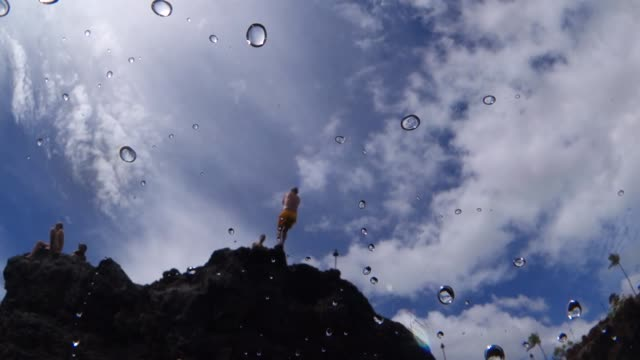 Close Up: Man Does Backflip Off Of Rock Into Ocean Water