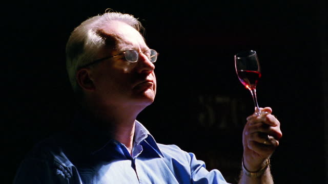 close up man in eyeglasses examining + smelling glass of red wine in light / Porto, Portugal