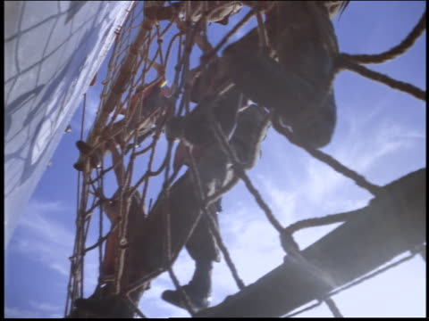 stockvideo's en b-roll-footage met close up marine climbing down rope net / rio de janeiro, brazil - 1997