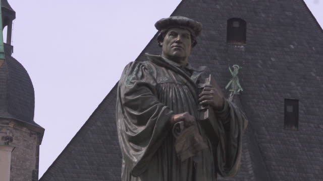 close up Martin Luther statue in Eisleben