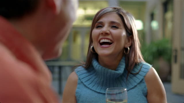 Close up mature couple having glass of wine/ San Antonio, Texas