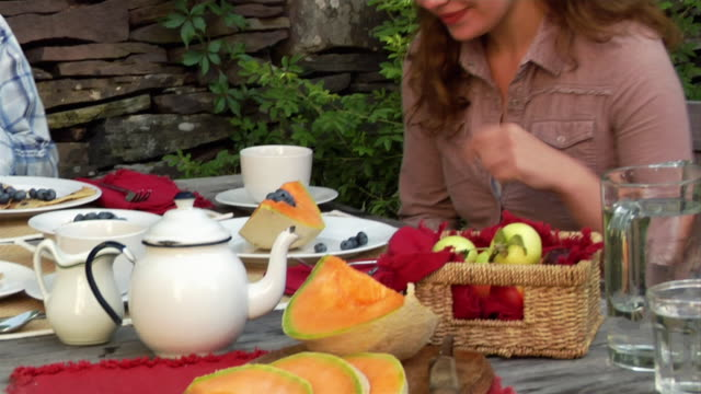 close up melon on outdoor breakfast table/ tilt up medium shot woman with bandana on head eating blueberrries/ roxbury, new york - beccuccio video stock e b–roll