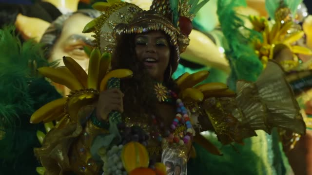 Close Up members of Beija Flor samba school celebrate during the 2014 Brazilian Carnival at Sapucai Sambadrome on March 02 2014 in Rio de Janeiro...