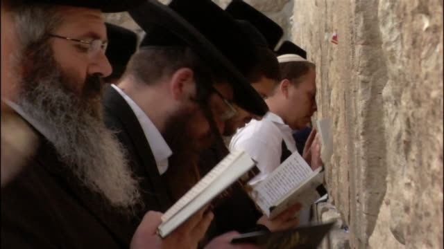 close up men praying at wailing wall/ zoom out medium shot row of men praying/ jerusalem - wailing wall stock videos & royalty-free footage