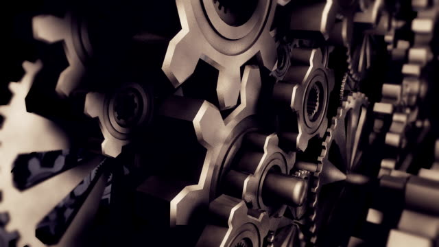 クローズアップ金属ギア(ループ) - 歯車の歯点の映像素材/bロール
