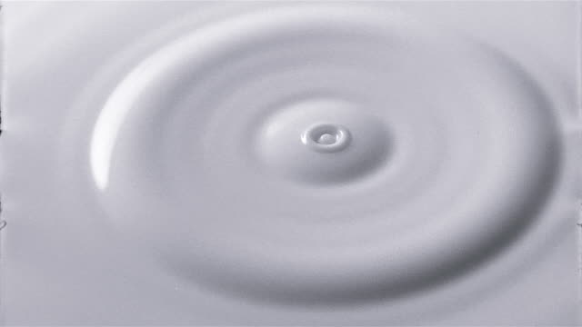 Close up milk droplet falling in to milk and making ripples