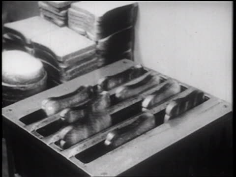 b/w 1939 close up multiple slices of toast popping out toaster / documentary - toaster appliance stock videos & royalty-free footage