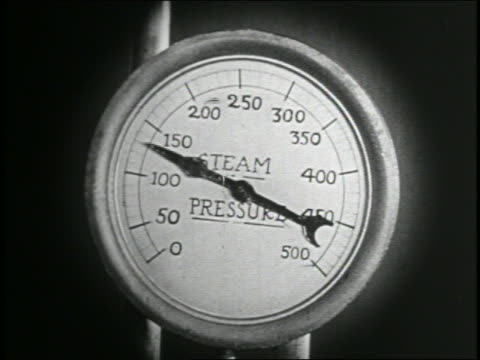 B/W 1935 close up needle climbing on steam pressure gauge / feature