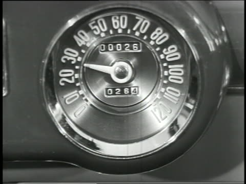 b/w 1949 close up needle moving on speedometer in car - speedometer stock videos & royalty-free footage