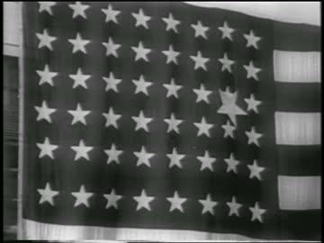 close up new big star on 48-star american flag / alaska statehood - 1958 stock videos & royalty-free footage