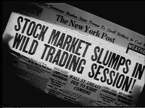b/w 1929 close up new york post headline stock market slumps in wild trading session - 1929 stock videos & royalty-free footage