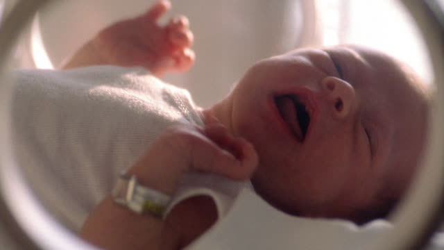 Close up newborn baby crying inside hospital incubator