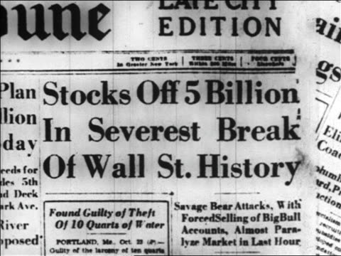 "close up newspaper headline ""stocks off 5 billion...severest break of wall st. history"" / news. - 1929 stock videos & royalty-free footage"