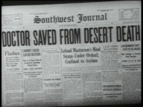 "B/W 1952 close up newspaper spinning with headline ""Doctor Saved From Desert Death"" / feature"