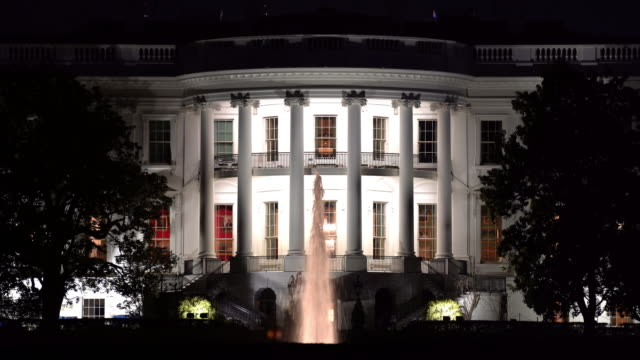 close up night architecture of white house in washington dc, district of columbia usa - white house washington dc stock videos & royalty-free footage