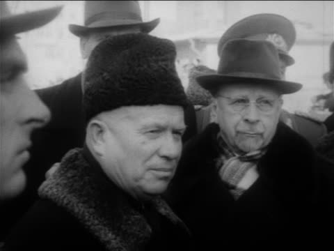 B/W 1961 close up Nikita Khrushchev standing in crowd outdoors / East Berlin / Cold War / Germany