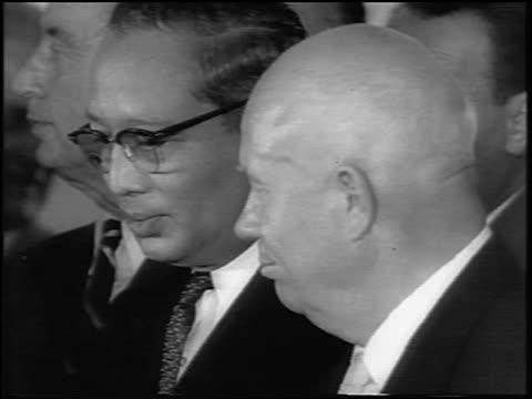 B/W 1963 close up Nikita Khrushchev UN Secretary General U Thant at signing of Atomic Test Ban Treaty