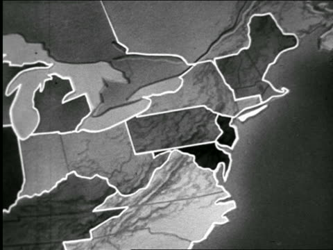B/W 1947 ANIMATED close up Northeastern states being outlined / zoom out to U.S. / industrial