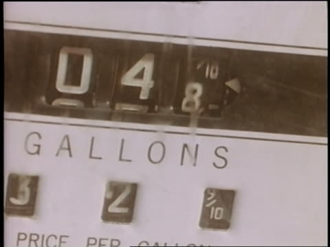 1958 close up numbers changing on gas pump gauge - fuel pump stock videos & royalty-free footage