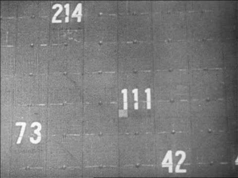 b/w 1929 close up numbers changing on large board of stock exchange / newsreel - einige gegenstände mittelgroße ansammlung stock-videos und b-roll-filmmaterial