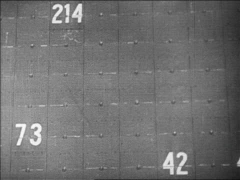 vidéos et rushes de b/w 1929 close up numbers changing on large board of stock exchange / newsreel - groupe moyen d'objets