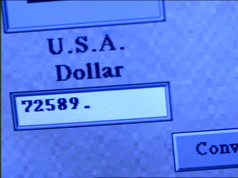 close up PAN numbers entering in under conversion from US to Canadian dollars on computer screen