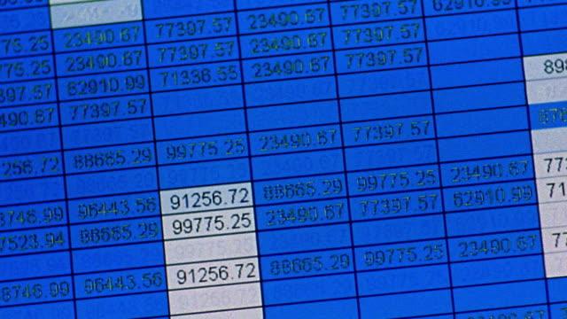 vídeos y material grabado en eventos de stock de canted close up numbers in spreadsheet format scrolling quickly up blue screen - hoja de cálculo