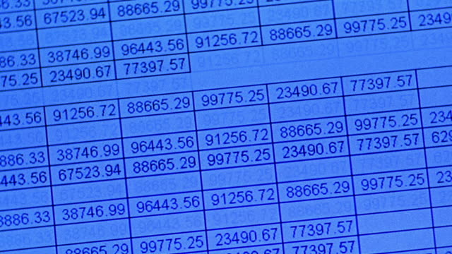 canted close up numbers in spreadsheet format scrolling up blue screen - information equipment stock videos & royalty-free footage