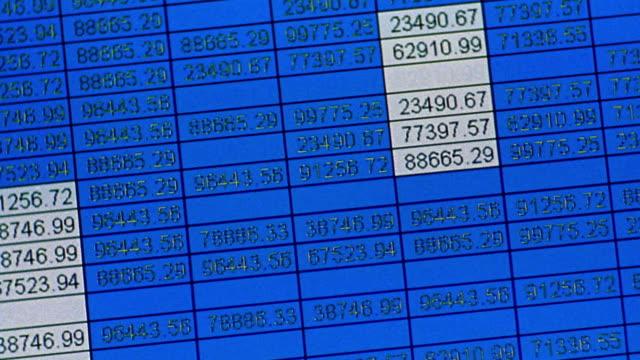 vídeos y material grabado en eventos de stock de canted close up numbers in spreadsheet format scrolling up blue screen - hoja de cálculo