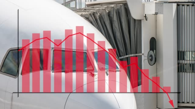 close up of 777 cockpit aviation industry scene with a graph overlay showing failure, declining flight numbers or crisis. inferring negative loss of money - despair stock videos & royalty-free footage