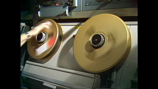 close up of a 1970s two inch tape machine in a television technology room - 1952 stock videos & royalty-free footage