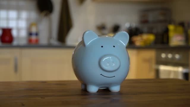 close up of a blue piggy bank on wooden table - piggy bank stock videos & royalty-free footage