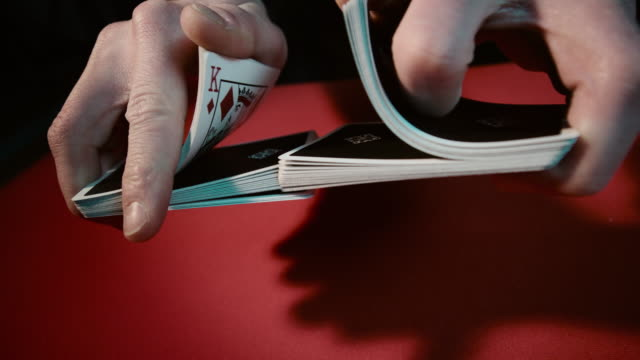 close up of a card trick - casino worker stock videos and b-roll footage