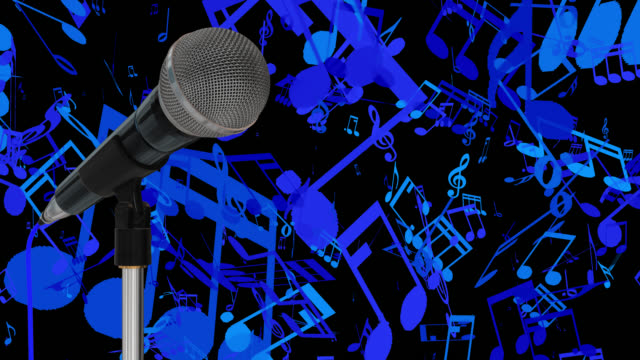 Close up of a cardioid dynamic ball head microphone on a stand turning against a blue background with music symbols and musical notes saved with alpha channel