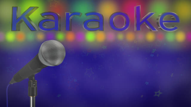 Close up of a cardioid dynamic ball head microphone turning on a stand the word karaoke is displayed in chrome 3D letters with a blue inlay there are also rows of colours representing lights, haze and star particles all on a blue background.