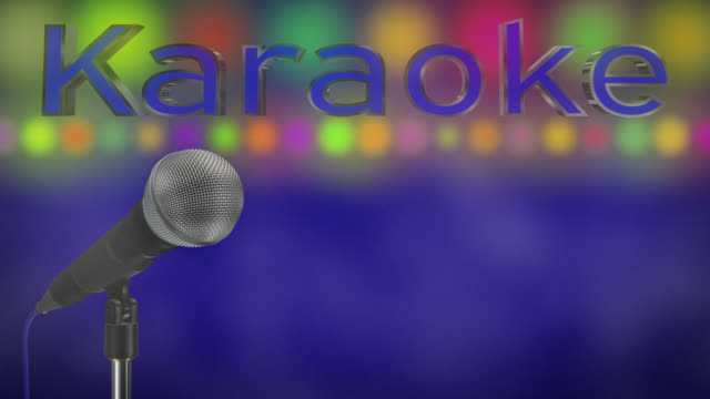 Close up of a cardioid dynamic ball head microphone turning on a stand the word karaoke is displayed in chrome 3D letters with a blue inlay there are also rows of colours representing lights and haze all on a blue background.