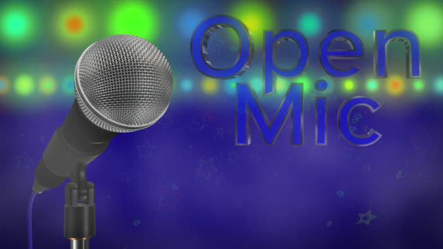 Close up of a cardioid dynamic ball head microphone turning on a stand the words open mic are displayed in chrome 3D letters with a blue inlay there are also rows of colours representing lights, haze and star particles all on a blue background.