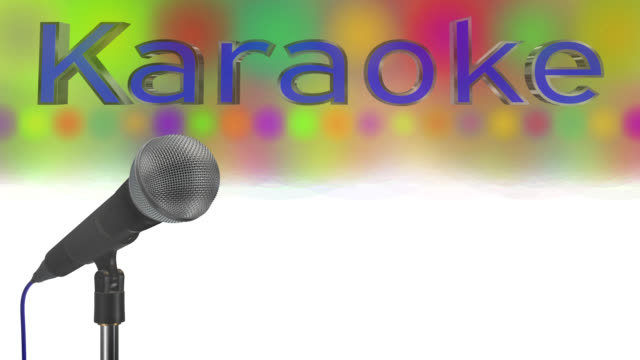 Close up of a cardioid dynamic ball head microphone turning on a stand the word karaoke is displayed in chrome 3D letters with a blue inlay there are also rows of colours representing lights and haze all on a blue background saved with alpha channel