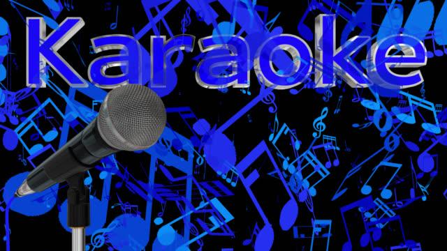 Close up of a cardioid dynamic ball head microphone turning on a stand the word karaoke is displayed in chrome 3D letters with a blue inlay saved with alpha channel