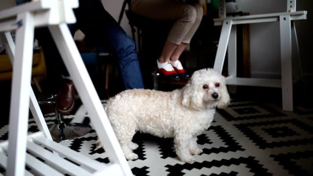 Nahaufnahme von einem niedlichen Welpen sitzen unter Tisch, während seine Besitzer ihre home-Office arbeiten